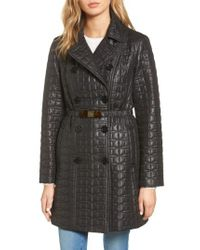 Kate Spade - Black Bow Belt Double-breasted Quilted Jacket - Lyst