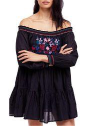 Free People - Black Sunbeams Minidress - Lyst