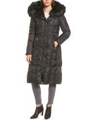 Via Spiga - Black Long Faux Fur Trim Coat - Lyst
