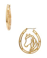 Kate Spade - Metallic Wild Ones Horse Wire Hoop Earrings - Lyst