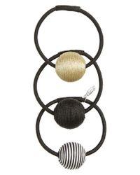 Tasha - Black 3-pack Ball Charm Ponytail Holders, Metallic - Lyst