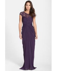 Adrianna Papell | Purple Lace Yoke Drape Gown | Lyst