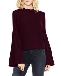 Two By Vince Camuto | Purple Mock Neck Bell Sleeve Top | Lyst