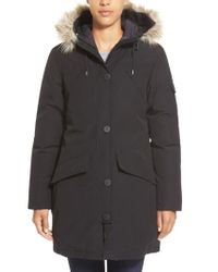 Penfield | Black 'hoosac' Genuine Coyote Fur Trim Down Parka | Lyst