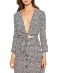Bardot - Gray Tori Tie Front Top - Lyst