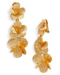 Oscar de la Renta - Metallic Clip Drop Earrings - Lyst