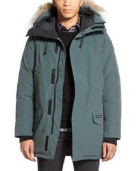 Canada Goose Gray Langford Slim Fit Down Parka With Genuine Coyote Fur Trim for men