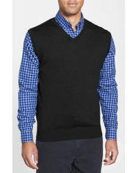 Cutter & Buck Black 'douglas' Merino Wool Blend V-neck Vest for men