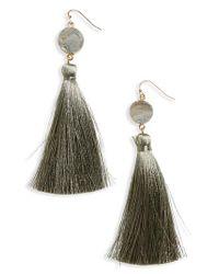Panacea - Gray Sunstone Drusy Tassel Earrings - Lyst