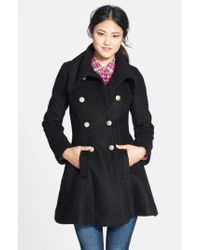 Guess   Black Double Breasted Boucle Coat   Lyst
