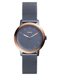 Fossil - Blue Neely Mesh Strap Watch - Lyst