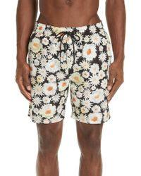 55e0377662e Lyst - Burberry Floral Swim Trunks in Black for Men