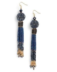 Nakamol - Blue Beaded Tassel Earrings - Lyst