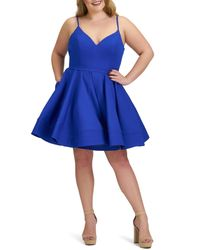 Mac Duggal Blue Fit & Flare Cocktail Dress