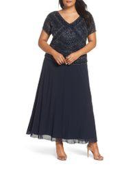 Pisarro Nights Blue Beaded Mock Two-piece Gown
