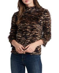 Vince Camuto Multicolor Zebra Print Eyelash Knit Sweater