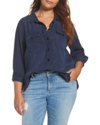 REBEL WILSON X ANGELS - Blue Soft Woven Army Shirt - Lyst
