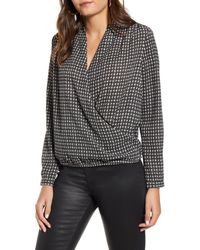 Vero Moda Black Individual Check Long Sleeve Wrap Blouse