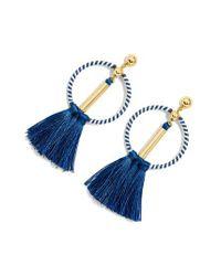 J.Crew - Blue J.crew Tassel Drop Hoop Earrings - Lyst