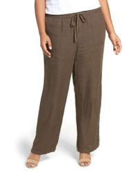 Caslon - Brown Caslon Drawstring Linen Pants - Lyst