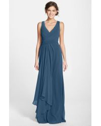 Monique Lhuillier Bridesmaids - Blue Sleeveless V-neck Chiffon Gown - Lyst