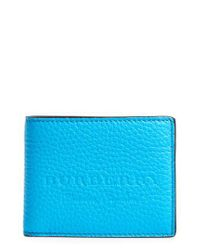 Burberry - Blue Leather Bifold Wallet - Lyst