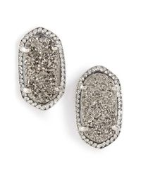 Kendra Scott - Metallic Ellie Oval Stone Stud Earrings - Lyst