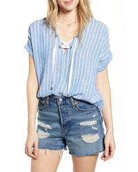 Rails Blue Jeri Lace-up Shirt