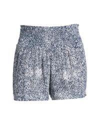 Volcom - Blue She's So Daisy Smock Waist Shorts - Lyst