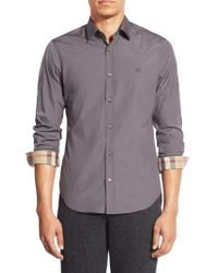 Burberry Gray Cambridge Aboyd Stretch-Cotton Sport Shirt for men