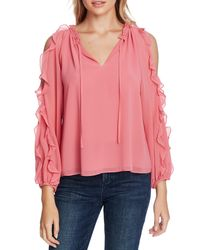 1.STATE Pink Ruffle Cold Shoulder Top