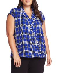 Vince Camuto Blue Highland Plaid Wrap Front Cap Sleeve Top