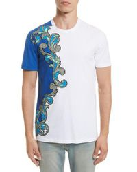 Versace Blue Baroque Print T-shirt for men