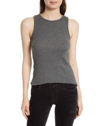Vince - Gray High Neck Tank - Lyst
