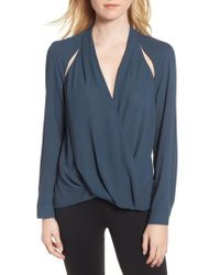 Trouvé - Blue Cutout Surplice Top - Lyst