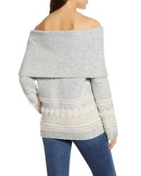 Caslon Gray Caslon Fair Isle Convertible Cowl Neck Sweater