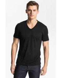 John Varvatos Blue Linen Slim Fit V-neck T-shirt for men