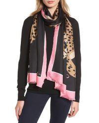 Kate Spade - Black Classic Cheetah Oblong Silk Scarf - Lyst