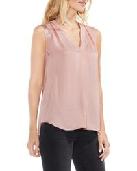 Vince Camuto - Pink Sleeveless V-neck Rumple Blouse - Lyst