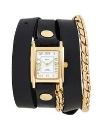La Mer Collections - Black Leather & Chain Wrap Watch - Lyst