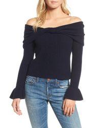 Ella Moss | Blue Off The Shoulder Sweater | Lyst