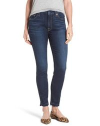 Jen7 | Blue Release Hem Stretch Ankle Skinny Jeans | Lyst