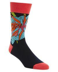 Bugatchi - Blue Pop Crew Socks for Men - Lyst