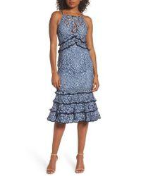 Keepsake - Blue Catch Me Ruffle Lace Sheath Dress - Lyst
