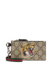 Gucci Multicolor Gg Supreme Tiger Print Lanyard Card Case - for men