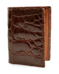 Martin Dingman - Brown 'joseph' Genuine American Alligator Leather Id Wallet - Metallic for Men - Lyst