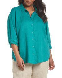 Eileen Fisher - Blue Organic Linen Shirt - Lyst