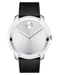 Movado Metallic Bold Thin Leather Strap Watch for men