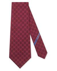 Gucci Red Fedra Silk Jacquard Tie for men