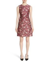 Adam Lippes - Pink Floral Fitted Dress - Lyst